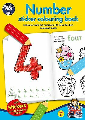 Orchard Toys NUMBER Kids/Children's Educational Sticker And Colouring Book BN