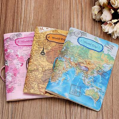 New Leather World Map Passport Cover Holder Organizer Travel Trip Card Case