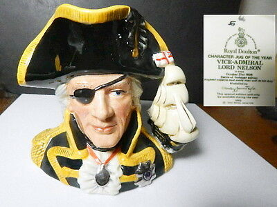 Royal Doulton Character Jug of Year 1993, Vice-Admiral LORD NELSON, D6932, Mint