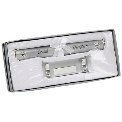 Personalised Silver Birth Certificate Holder With Stand Engraved Baby Gift 171