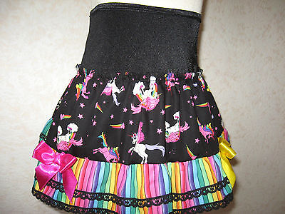 NEW Girls Black Rainbow Unicorns Striped lace Frilly Party Gift Skirt Dance Rock