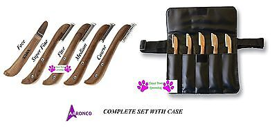 AARONCO Sam Kohl Pro Stripping Knives 5 pc KNIFE SET&Case DOG Grooming Carding