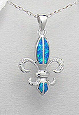 Solid Sterling Silver 30mm Blue Lab Created Opal Fleur de Lis Pedant 2.4g