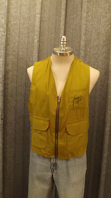 Vtg 50's Hettrick Cotton Hunting Vest sz M Zipper Front Ammo Holders,Game Pouch
