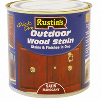 Rustins Quick Dry Exterior Woodstain Satin Mahogany 250ml