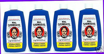 4 Mrs. Stewarts Concentrated LIQUID BLUING Whiten White Clothes Safely Non-Toxic