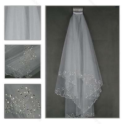 2T White/Ivory Elbow Beaded Edge Pearl Sequins Wedding Bridal Veil #B With Comb