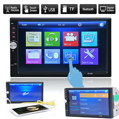 "Double 2 Din 7"" Bluetooth Car Stereo Radio MP3 Player Touchscreen USB AUX SD FM"