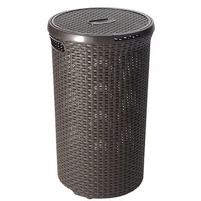 Curver Rattan Round Hamper Dark Brown 48L