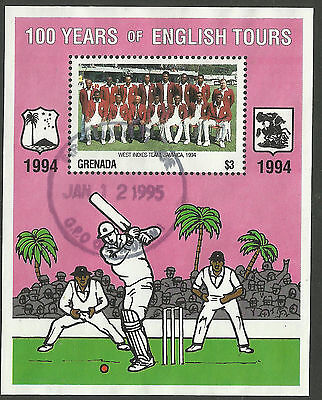 GRENADA 1995 CENTENARY ENGLISH CRICKET TOURS Souvenir Sheet USED.