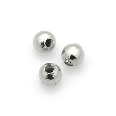 Packet of 50+ Silver Stainless Steel 4mm Round Spacer Beads Y01445