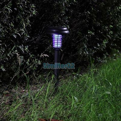 Solar Power UV Garden Lawn LED Light Lamp Pest Bug Zapper Insect Mosquito Killer