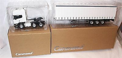 Scania Cab unit and Curtainside Trailer Plain White 1-50 new in box