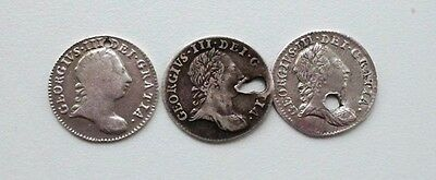 Collection Of 3 King George III 1763 Silver Maundy Threepence 3d Coins