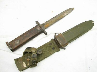 Early Carbine US Bayonet Trench Knife w/VP CO M8A1 Scabbard Wood Handle WWII Era