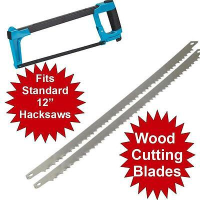 """2 x WOOD BOW SAW BLADES TO FIT 2 IN 1 BOWSAW / HACKSAW 300 MM 12"""""""