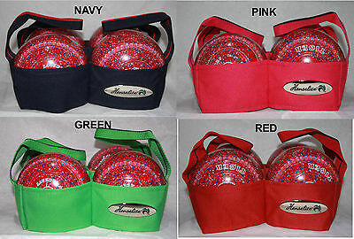 Henselite 4 Bowl Lawn Bowls Carrier Sling Blue, Green, Pink or Red Heavy Duty