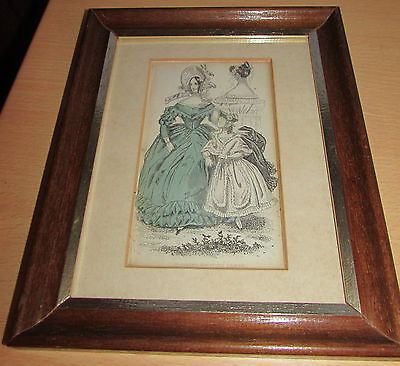 "Original 1840's Ladies Fashion Plate ""morning Visiting Dress"" Framed Victorian"