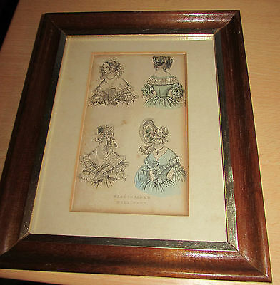 """Original 1840's Ladies Fashion Plate """"fashionable Millinery"""" Framed Victorian"""