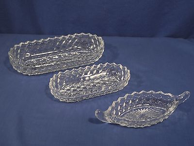 3 Pieces Fostoria Crystal Glass American Relish Pickle and Celery Trays