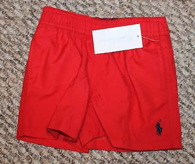 New! Boys Polo Ralph Lauren Swim Shorts/Trunks (Swimmers; Red/Navy) - Size 9 mo