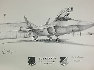 USAF F-22 Raptor Hollman AFB New Mexico Signed & Numbered Print