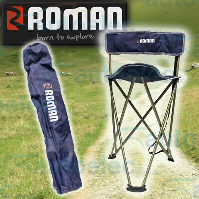 Roman Anywhere Compact Folding Stool Travel Seat Steel Frame Picnic Camp Camping
