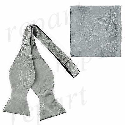 New Men's 100% Polyester Paisley Formal Self-tied Bow Tie & hankie set Silver