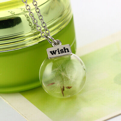 Fashion Wish Glass Real Dandelion Seeds In Glass Wish Bottle Chain Necklace