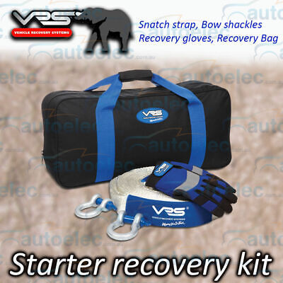 VRS 5 PIECE STARTER WINCH 4x4 RECOVERY KIT SNATCH STRAP SHACKLES 4WD + CARRY BAG