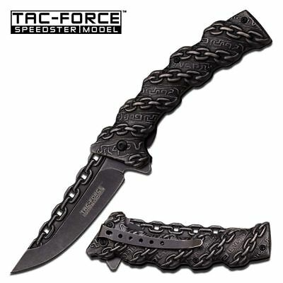 NEW! Tac-Force Pewter Gray Biker Chain Novelty Spring-Assisted Folding Knife
