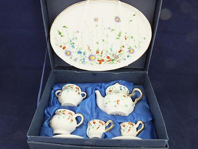 Ceramic Miniature Tea Set on a Tray Wild Flowers Pattern Design.