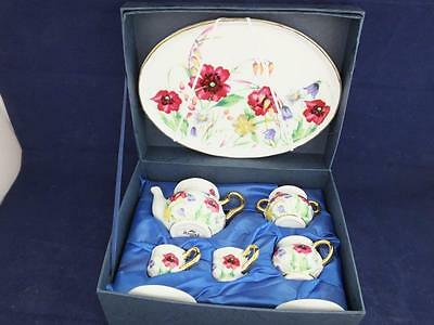 Ceramic Miniature Tea Set on a Tray Annabelle Design.