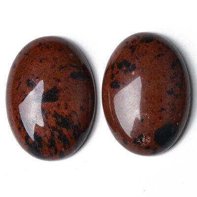 1 x Brown Mahogany Obsidian 18 x 25mm Oval-Shaped Flat-Backed Cabochon CA16661-6