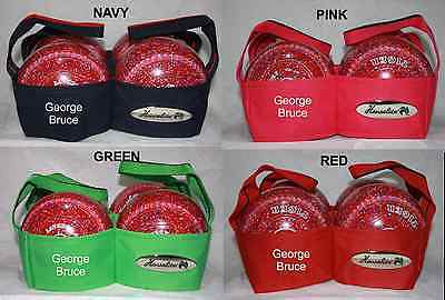 Personalised Embroidered Name Club Henselite 4 Bowl Lawn Bowls Carrier 4 Colours