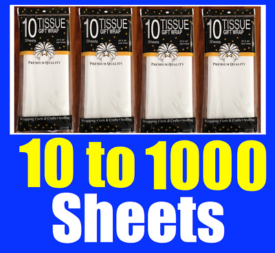 10 to 500 Sheets Premium Pure White Tissue Paper Retail Pack Gift Wrap Wrapping