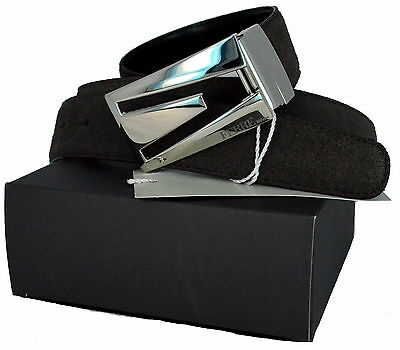 Cintura Reversibile Ferrè Made in Italy Belt BOX Leather N6252 Double face