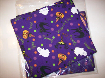 Longaberger Fabric NAPKINS Set of 4 - HALLOWEEN PARTY - New -  Cute!