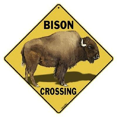 "Bison Metal Crossing Sign 16 1/2""x 16 1/2"" Diamond shape made in USA Buffalo 349"