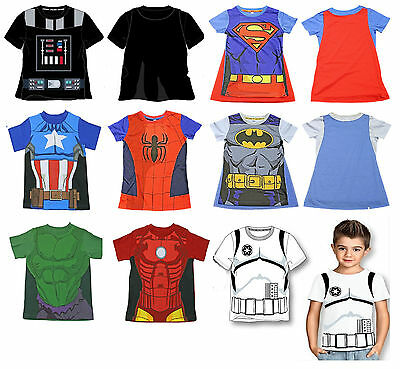 Star Wars Marvel Vengadores Spiderman Batman Superman Camiseta Manga Corta Niño