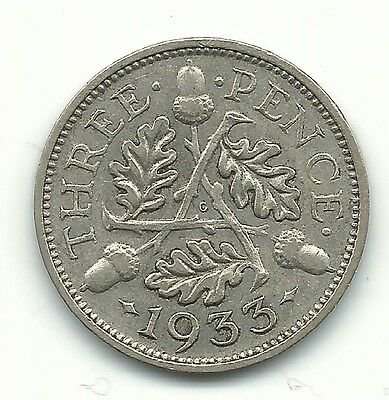 A Higher Grade 1933 Great Britain Silver 3 Pence Coin-Apr228