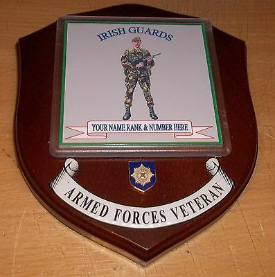 Irish Guards Veteran Wall Plaque with name rank& number