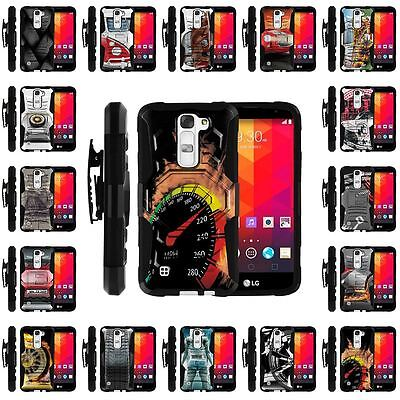 For LG K7 | Holster Clip + Tempered Glass + Case Combo Kickstand Racing Car