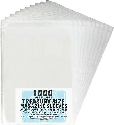 (1000) MASPTRRS Treasury Size Magazine Comic Sleeves Bags Covers 2Mil Thick