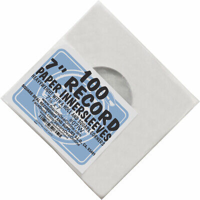 """(100) 07IW 7"""" White Paper Record Inner Sleeves ACID FREE 45 RPM ARCHIVAL Covers"""