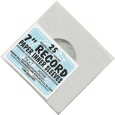 """(25) 7"""" Record Inner Sleeves - White ARCHIVAL Paper ACID FREE 45rpm - #07IW"""