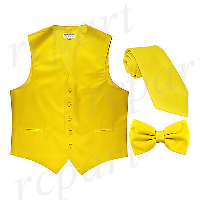 New Men's yellow formal vest Tuxedo Waistcoat_necktie & bowtie set wedding party