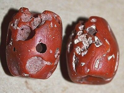 2 Large Antique Natural Red Coral Beads Collected From Yemen, African Trade