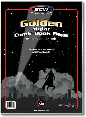 (100) BCW-GOL-M4 Golden Age Comic Mylar 4mil Sleeves Bags Covers Store Protect
