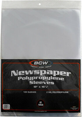 "(100) BCW-SSLV-NP-12X16 Newspaper Bags Covers Sleeves 12 1/8"" x 16 3/8"" Protect"